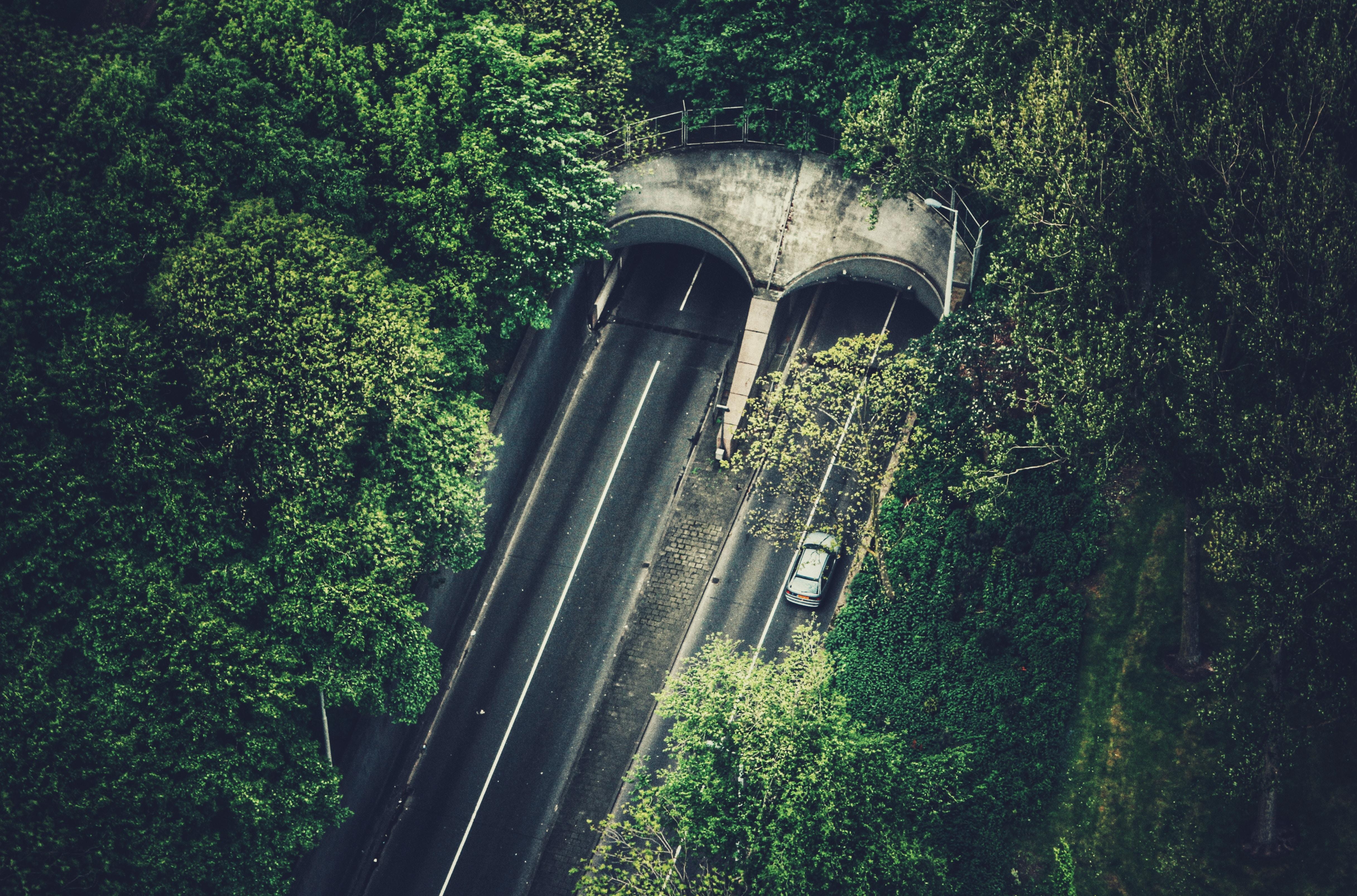 bird's eye view of tunnel