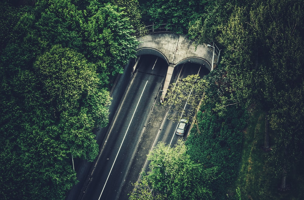bird's eye view of tunnel