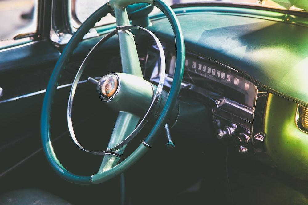 vintage green vehicle steering wheel