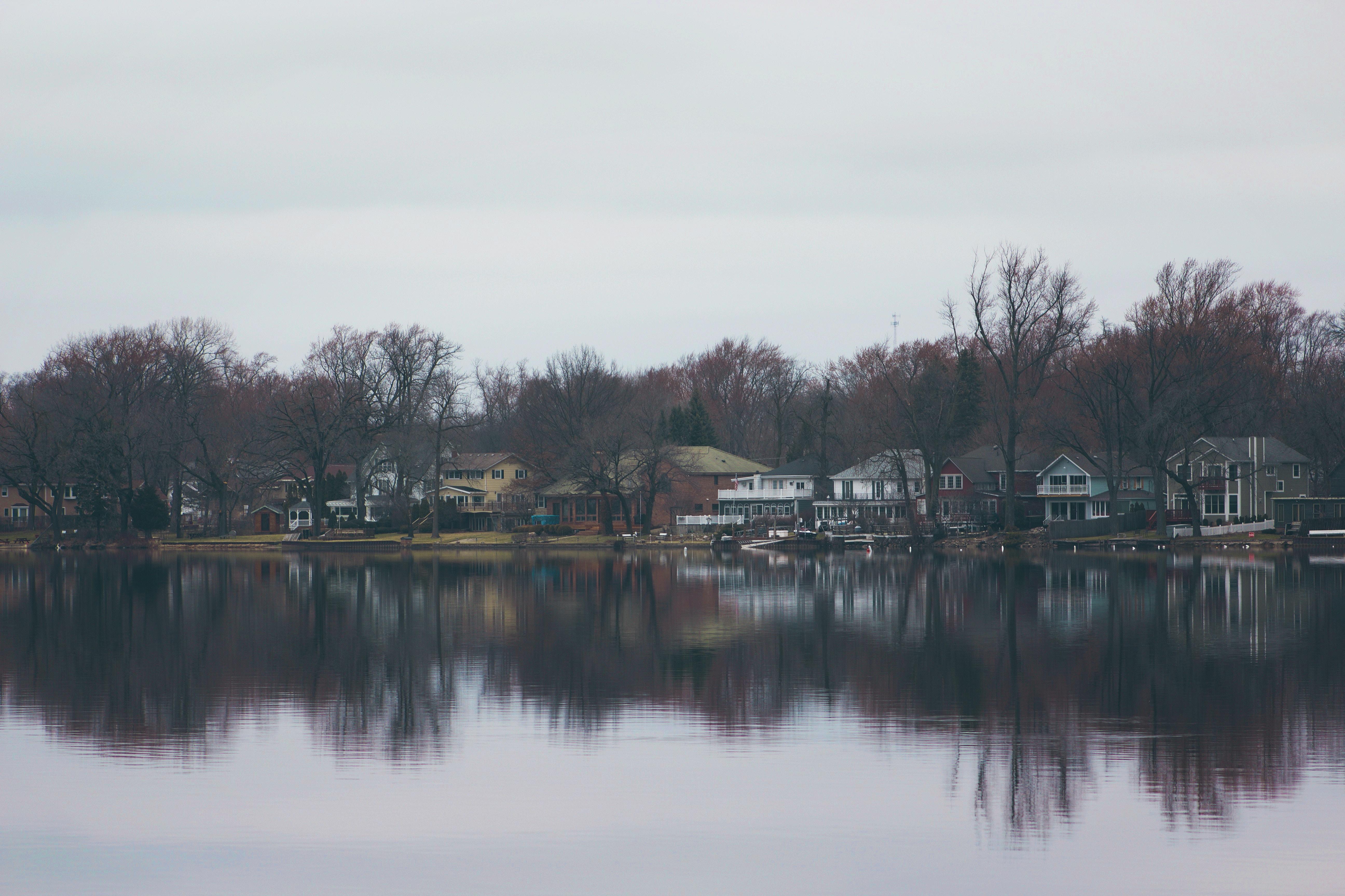 houses near lake during daytime