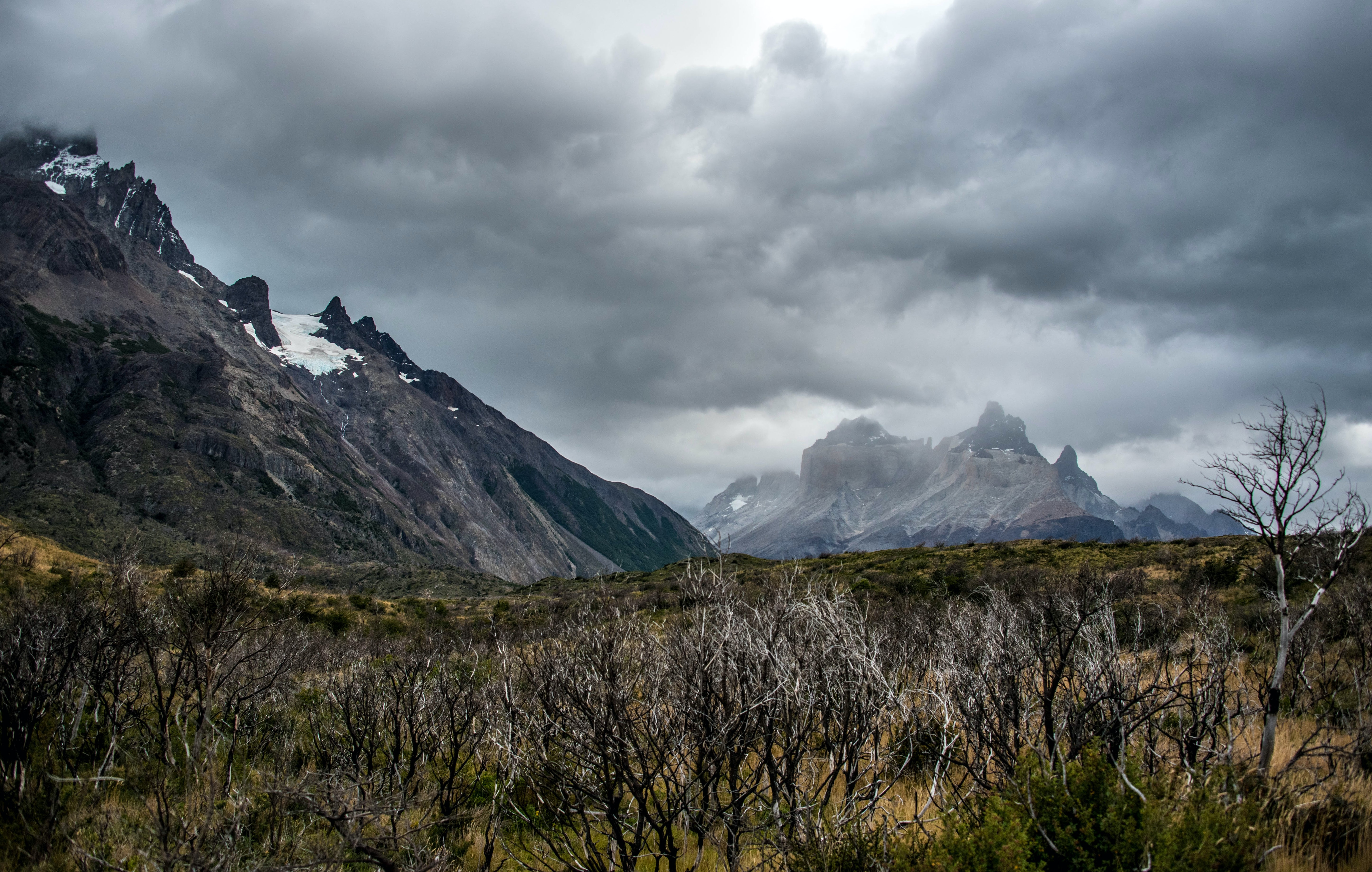 Torres del Paine on a cloudy moody day
