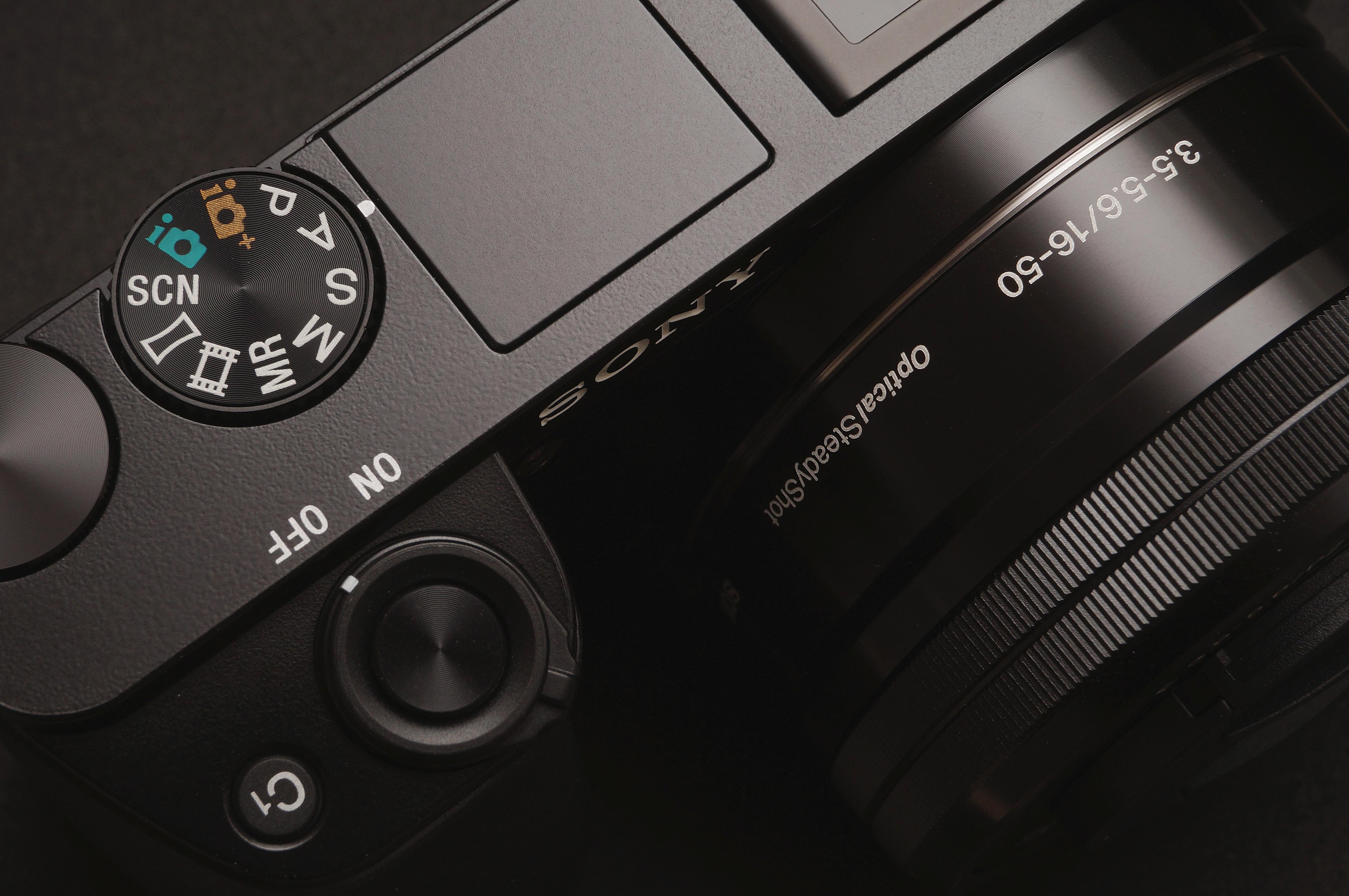 close-up photography of black Sony camera