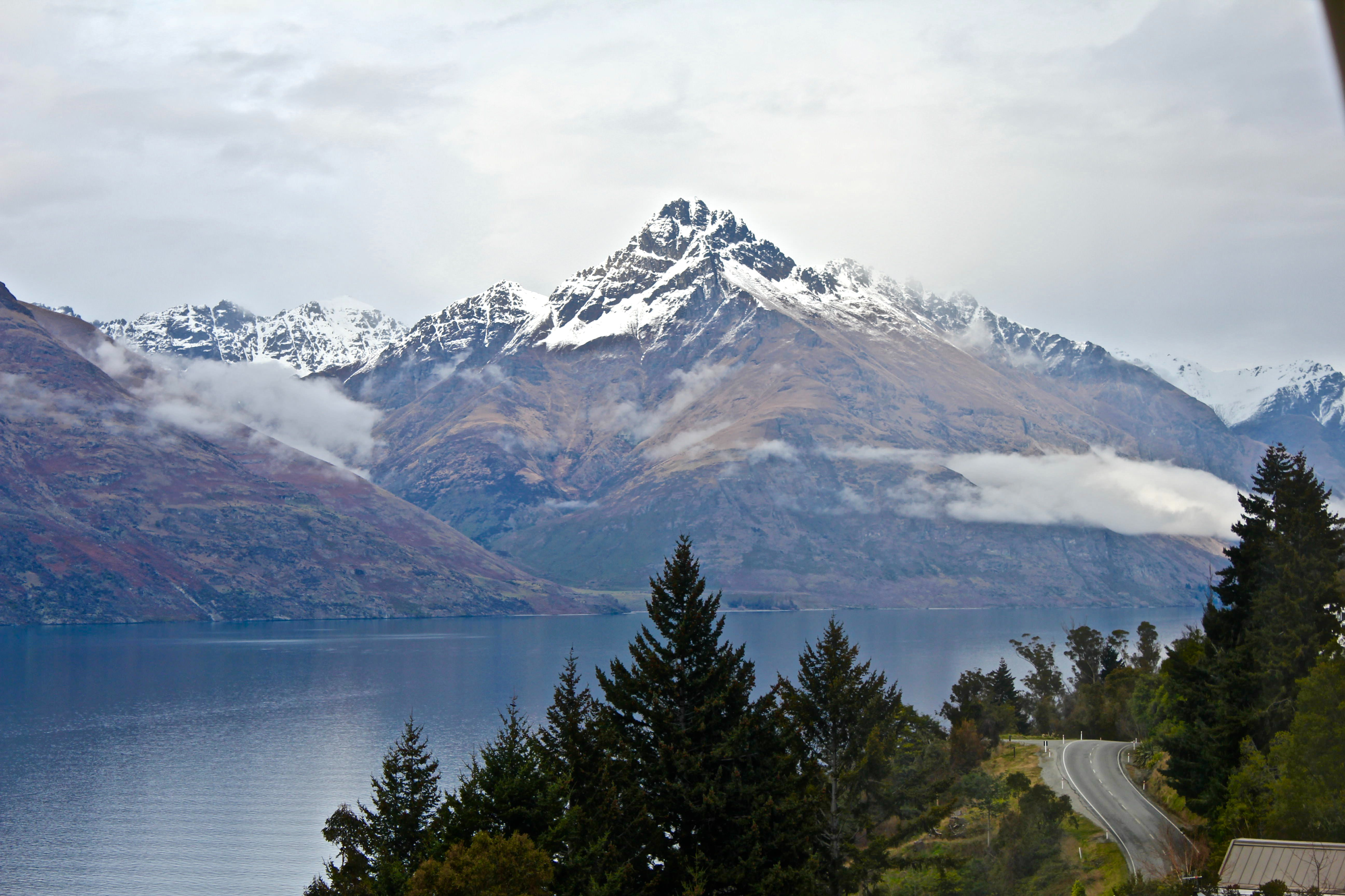 Road in Queenstown through a pine forest, overlooking snowy mountains covered in clouds and a lake