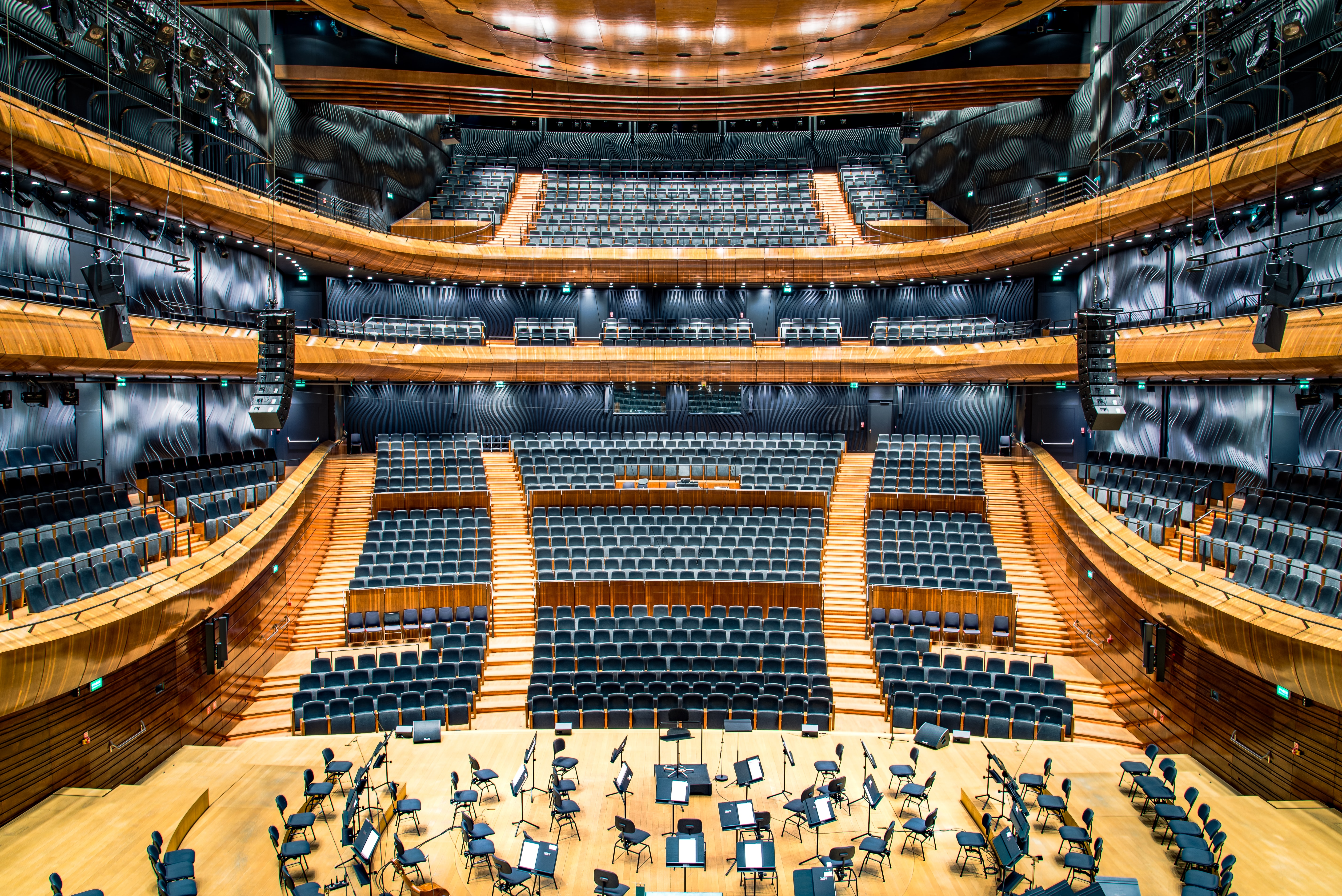 A high view of an empty concert hall in Katowice