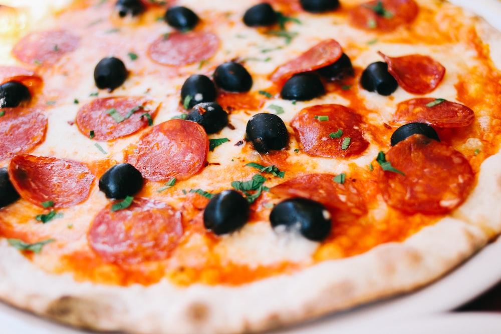 close shot of pizza