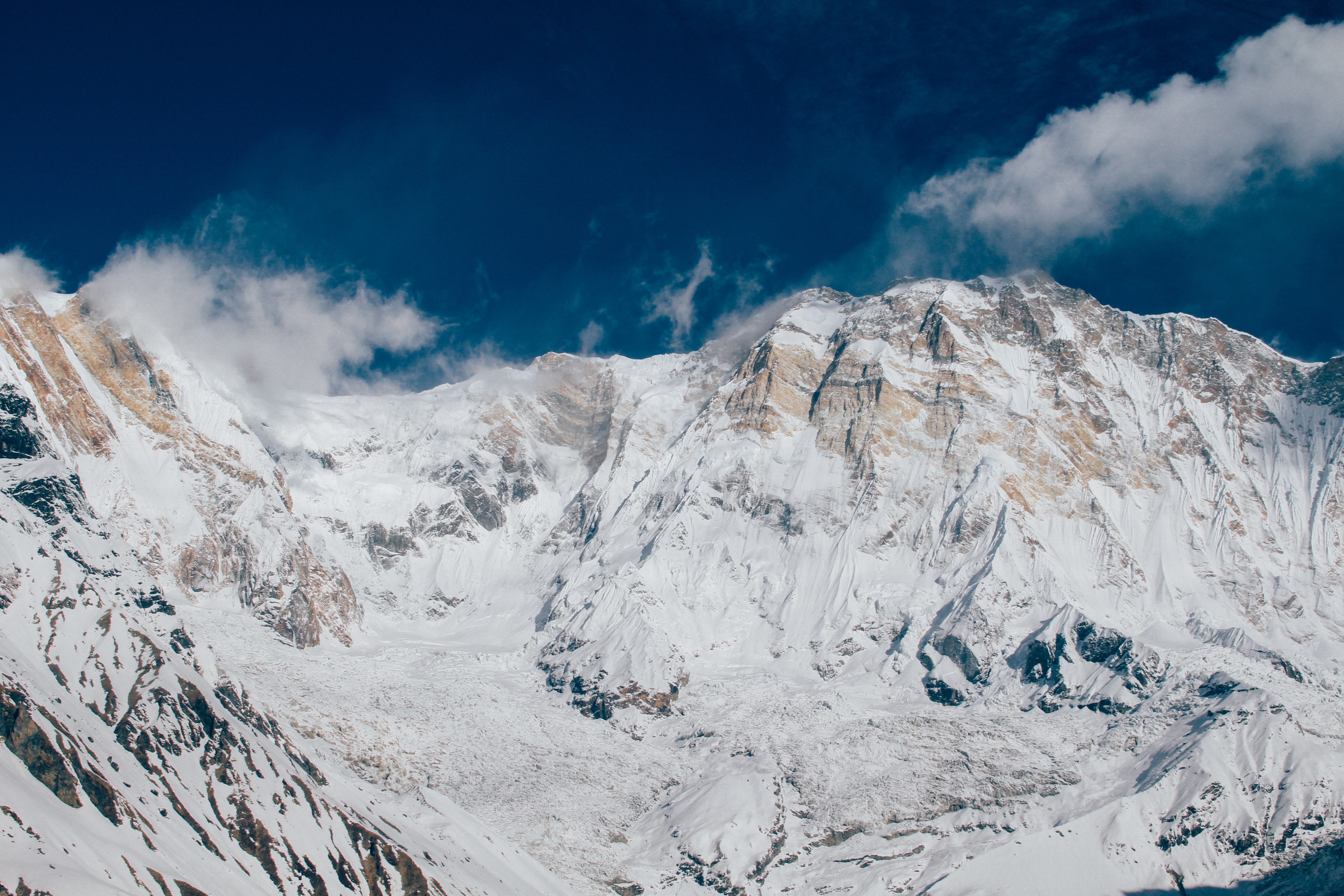 The cloud covered ridges and summits surrounding the Annapurna Base Camp in winter