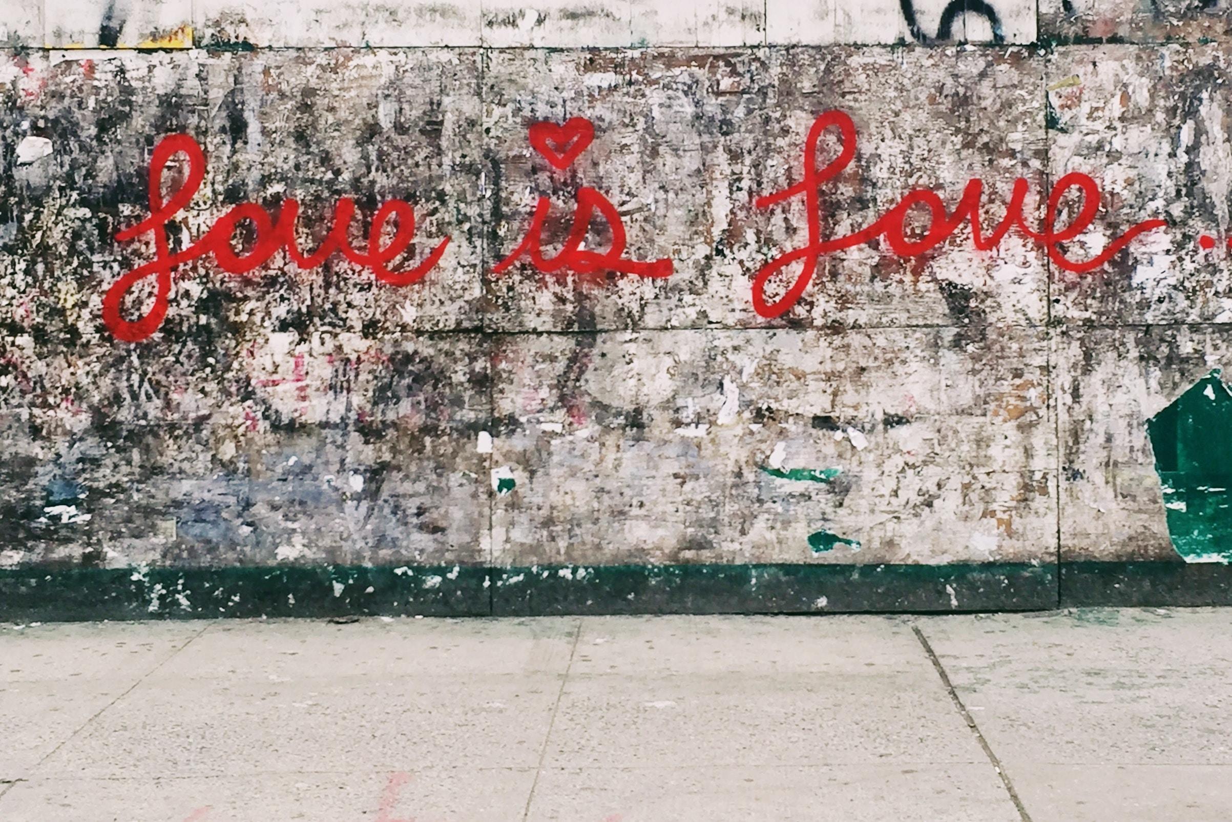 "Graffiti on a wall reads ""Love is love"""