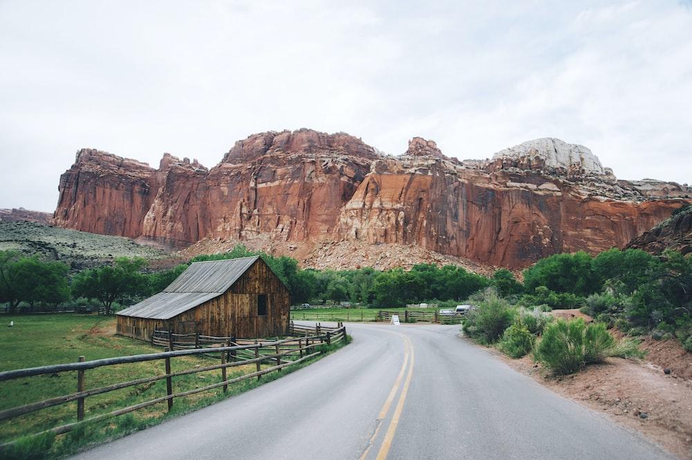 winding road near butte