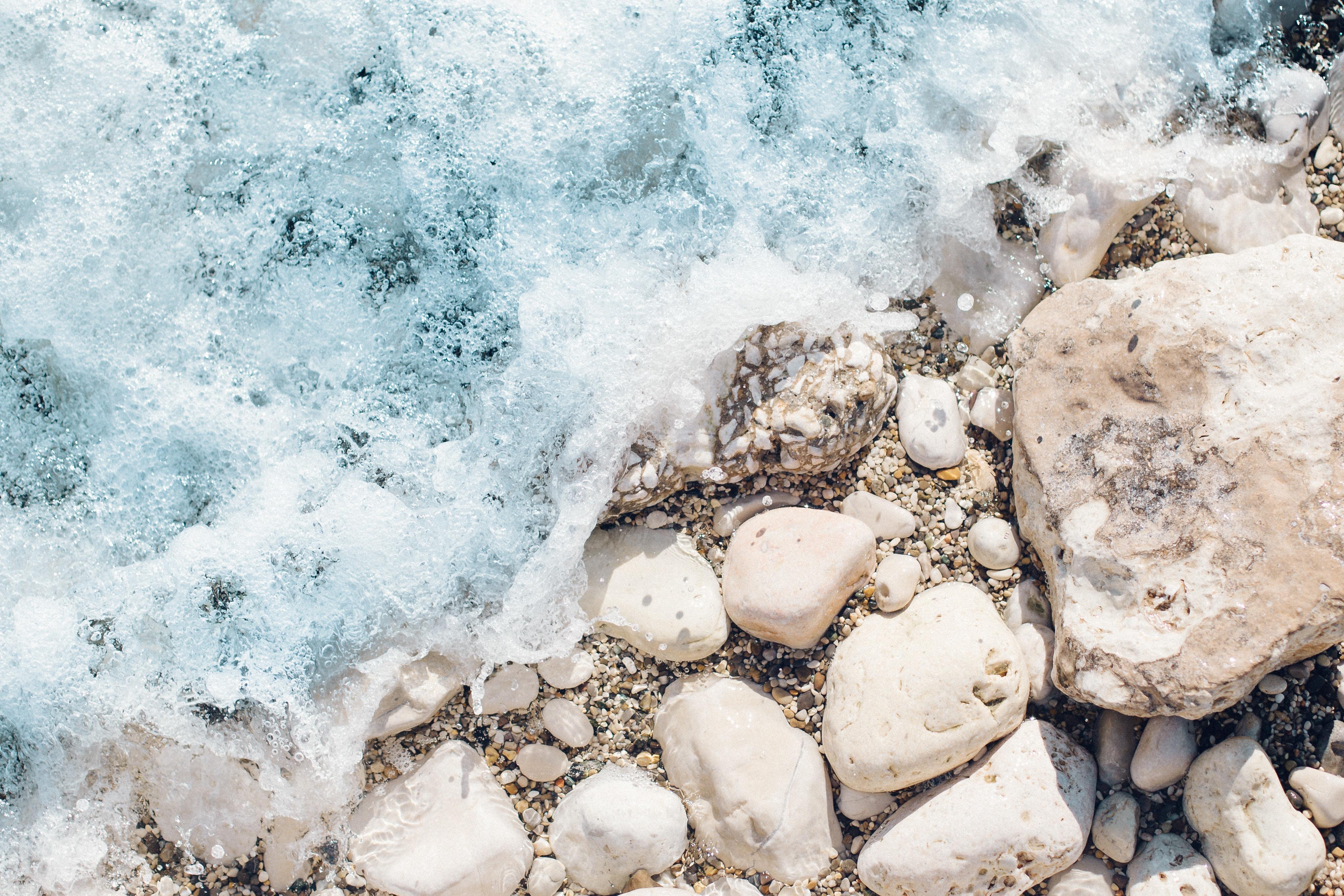 bubble ocean on white stone