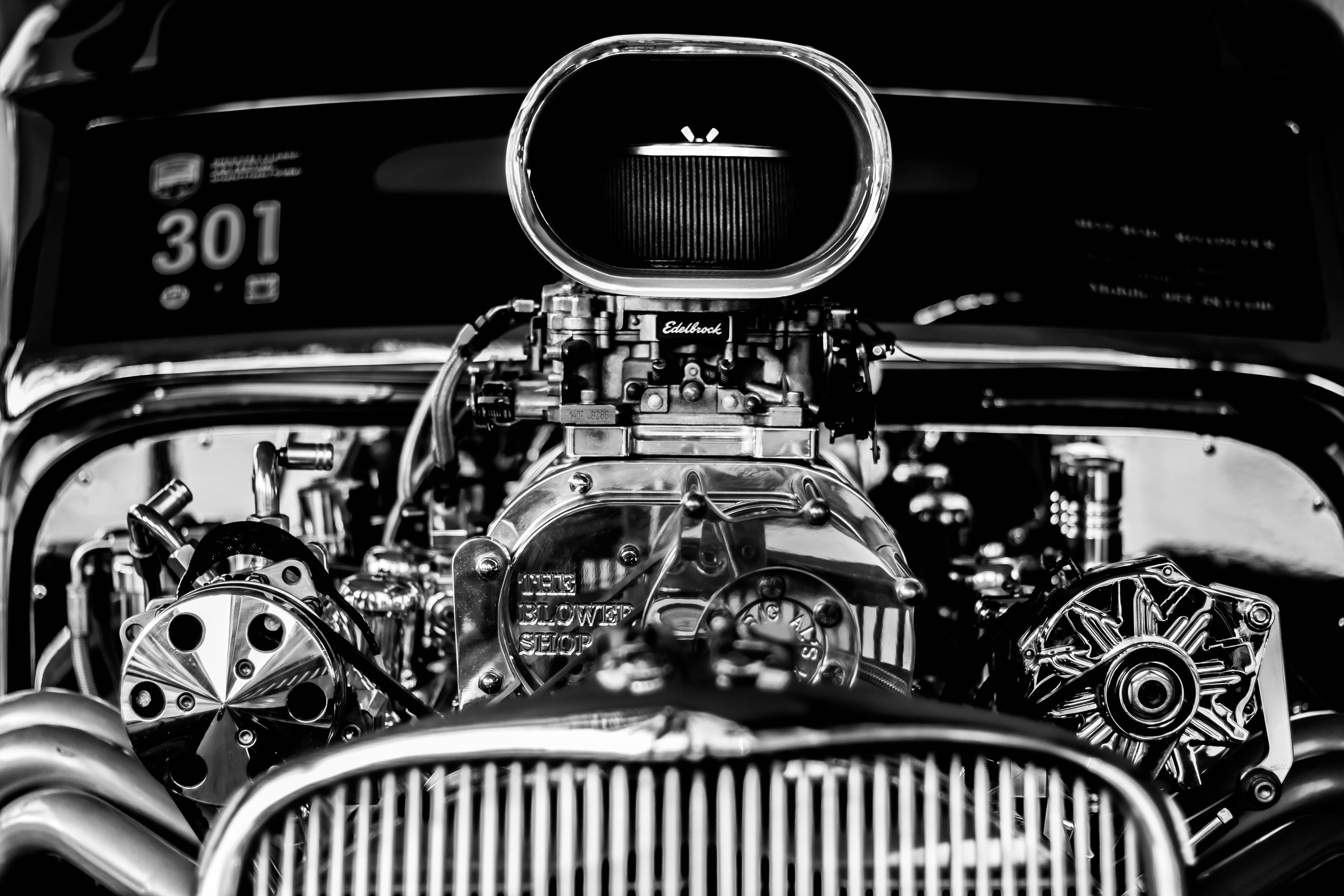 Vintage black and white car engine