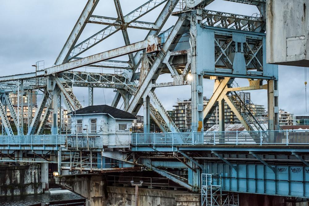 steel bridge frame above the wter