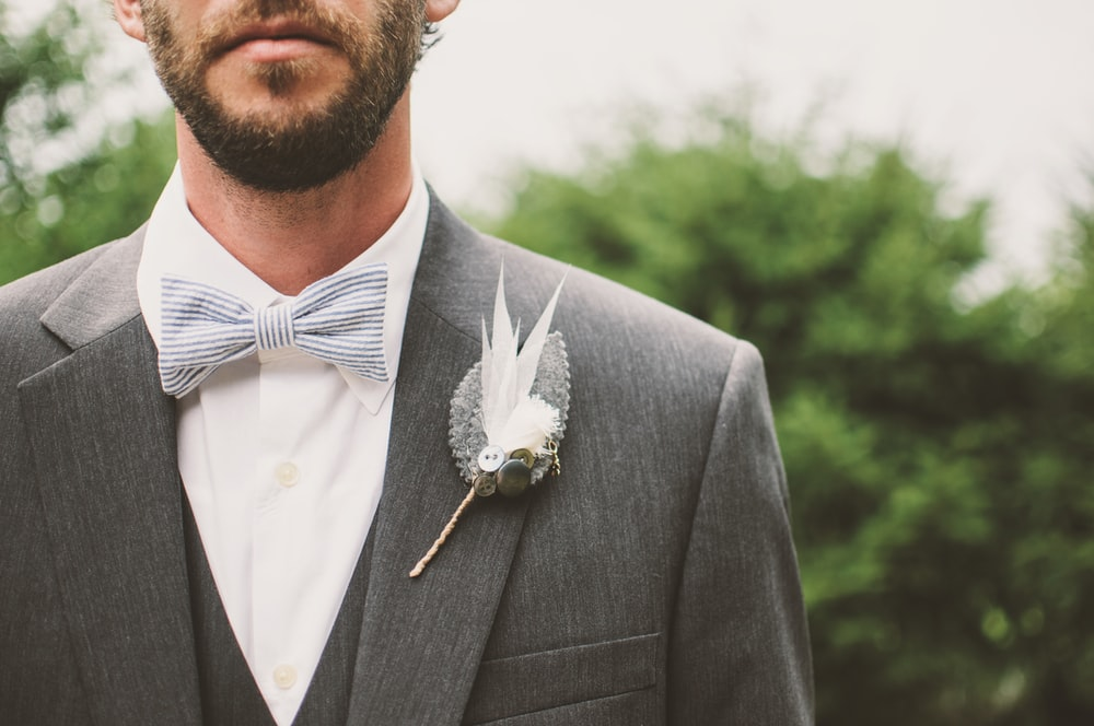 men's gray suit jacket