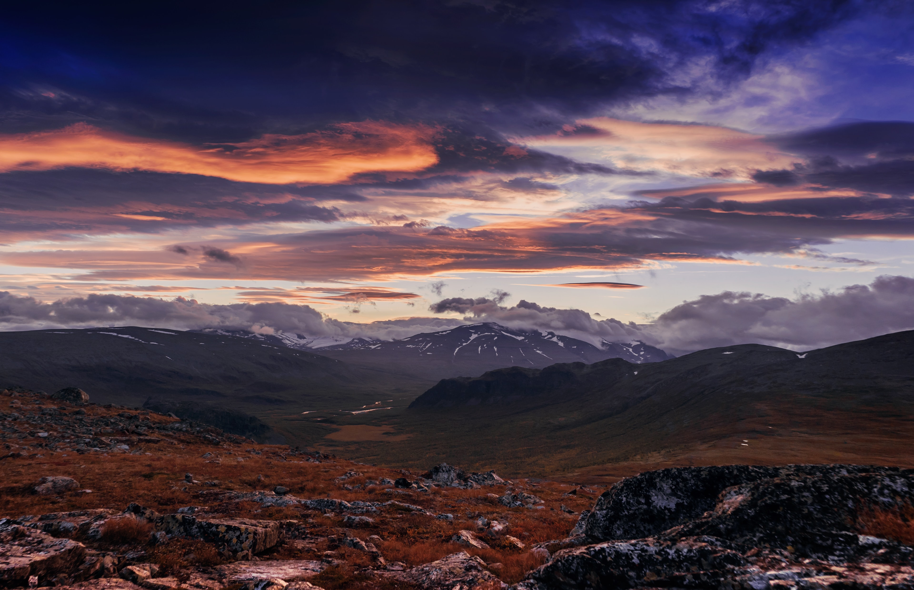 Aerial view of mountains and landscape of Sarek National Park desert