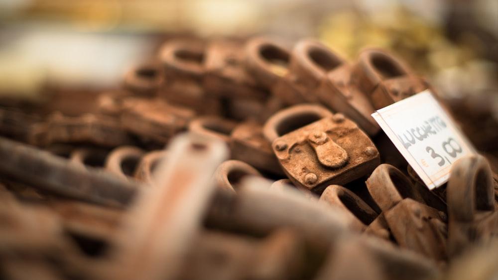 focused photo of a brown padlock