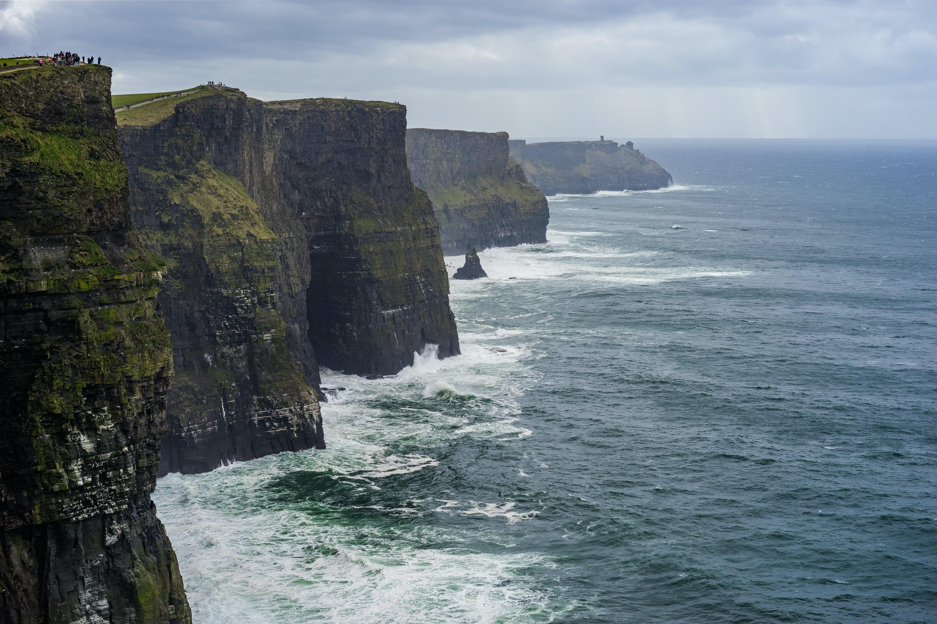 The rocky Cliffs of Moher and the sea in Ireland