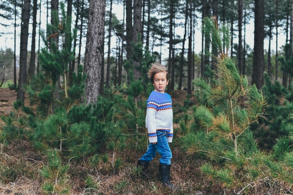 kid near tree lot during daytime