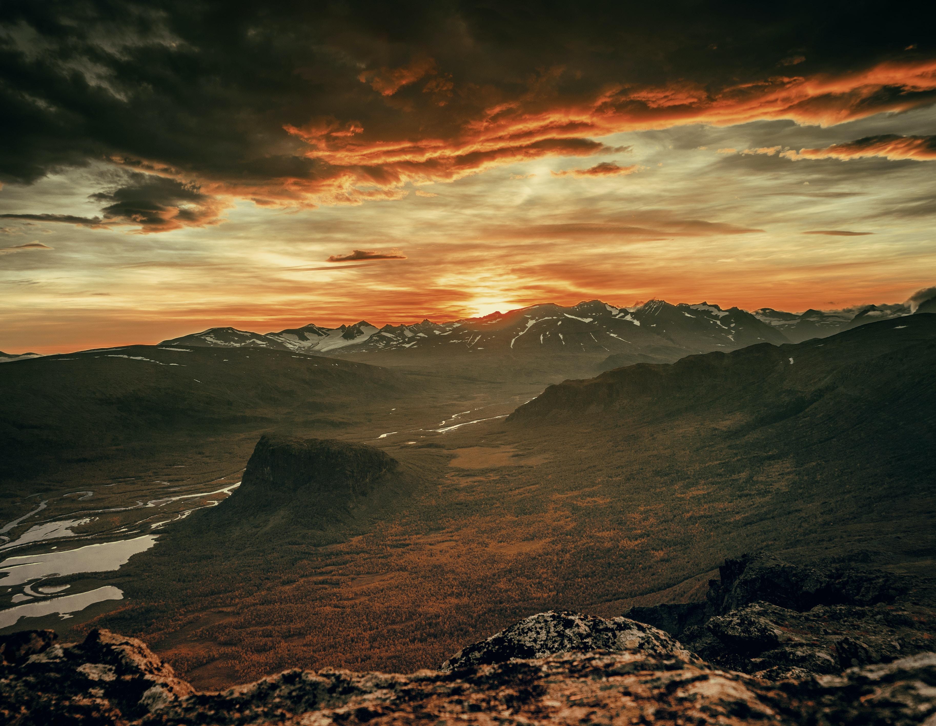 aerial photography of vast mountain range