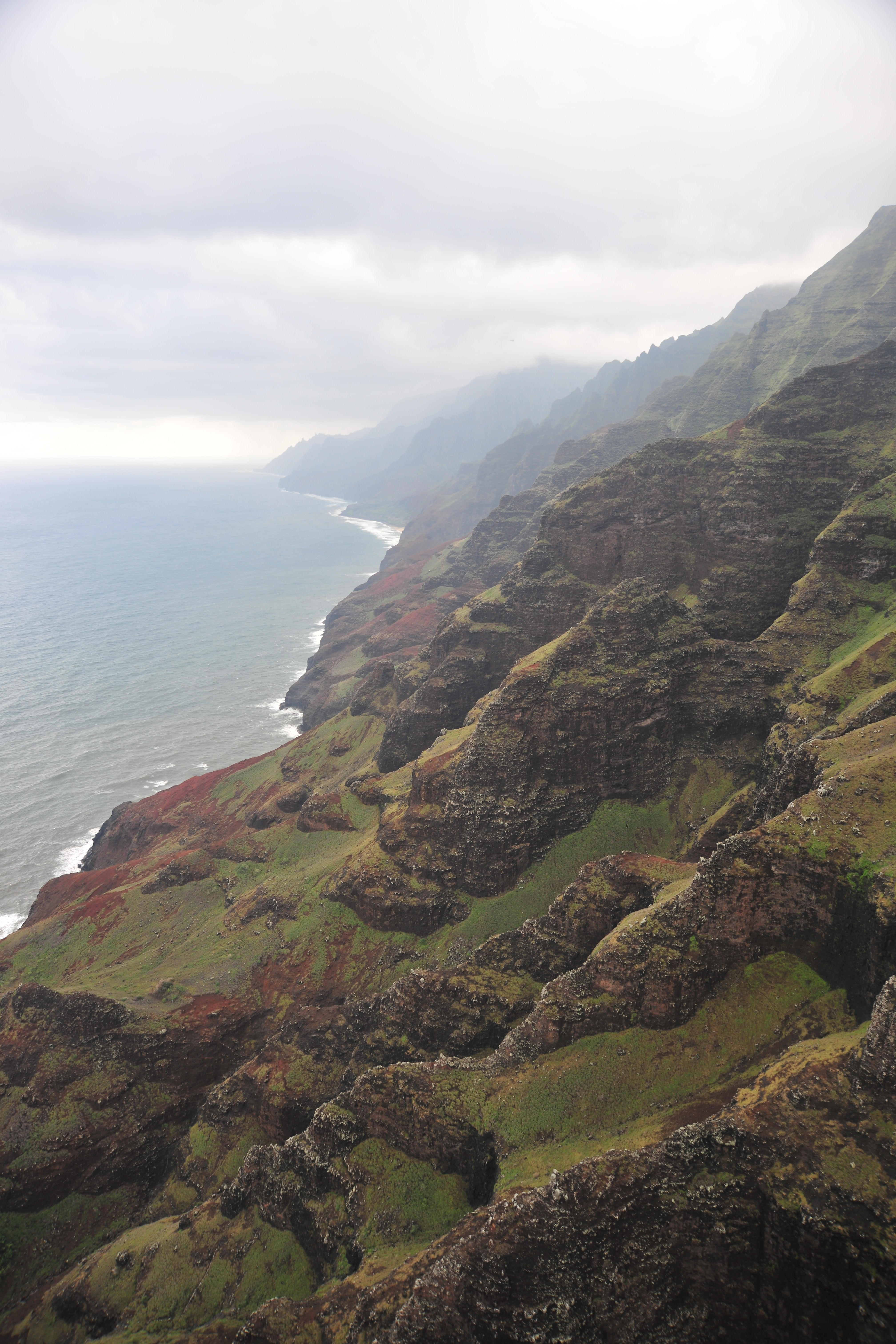 The side of a grassy mountain along the coast on a foggy day in Kauai