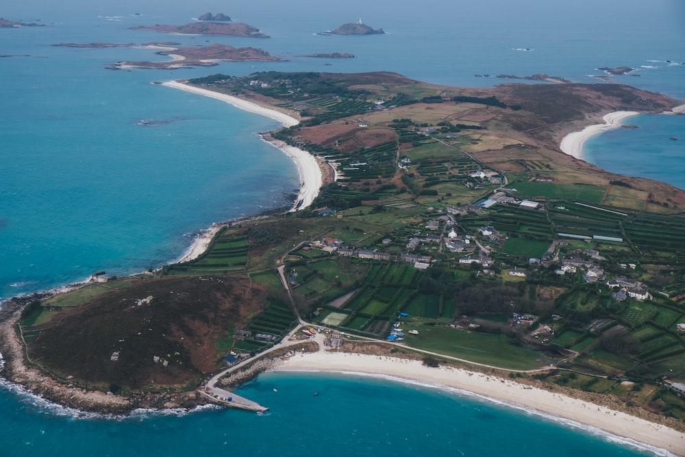 aerial shot of island