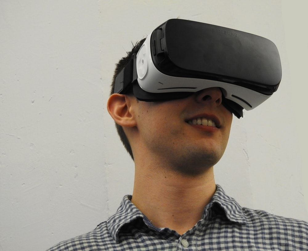 man wearing VR glass headset