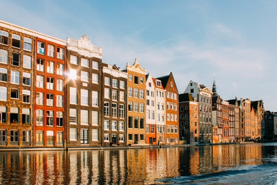 assorted-color buildings beside body of water amsterdam teams background