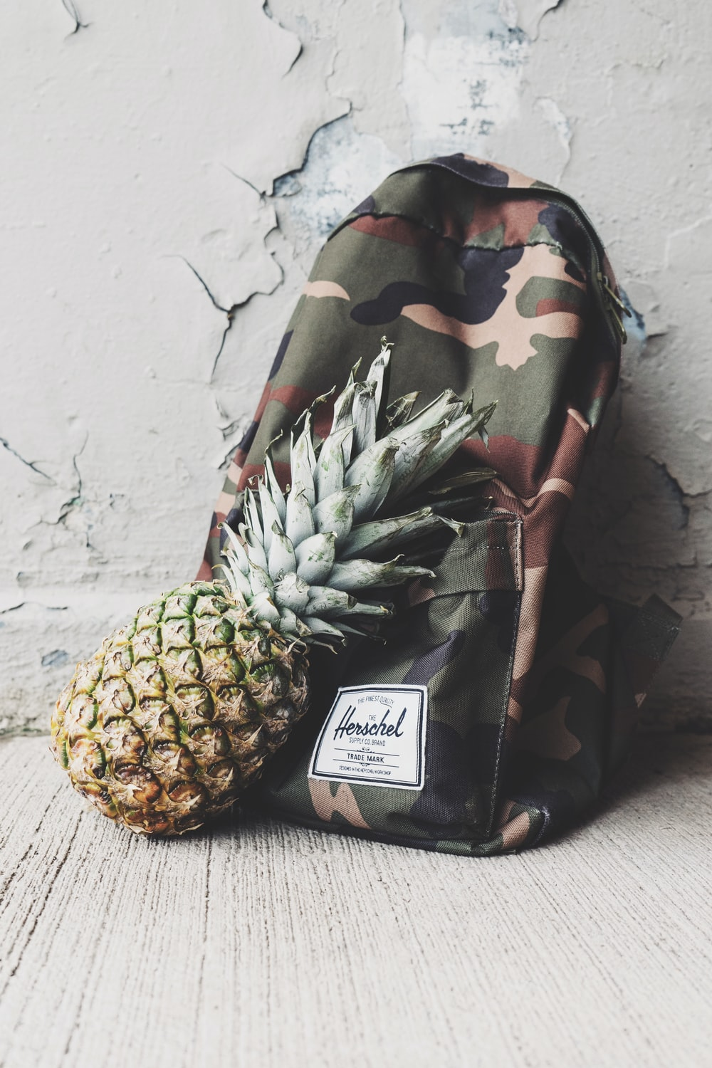 pineapple fruit leaning on camouflage backpack