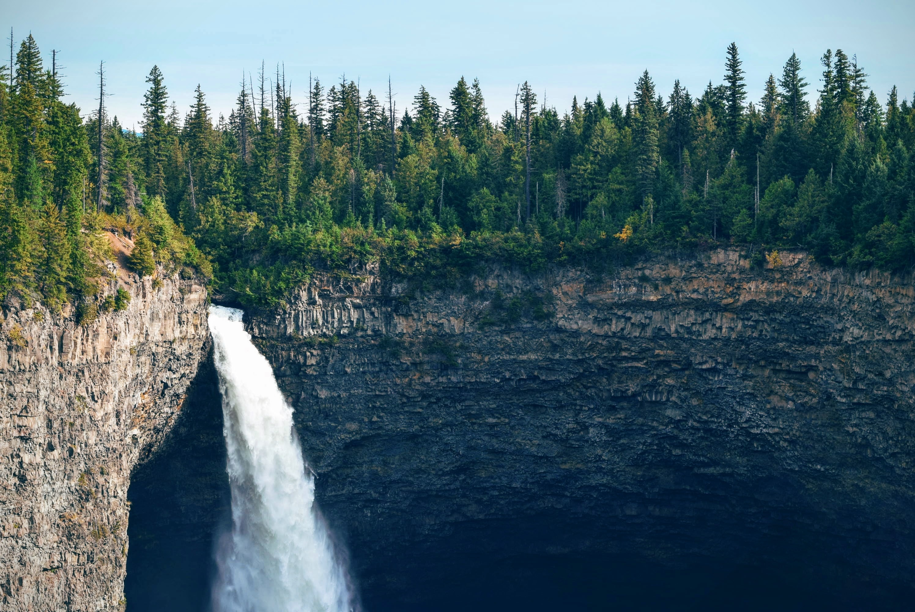 A tall waterfall tumbling down from a forested cliff