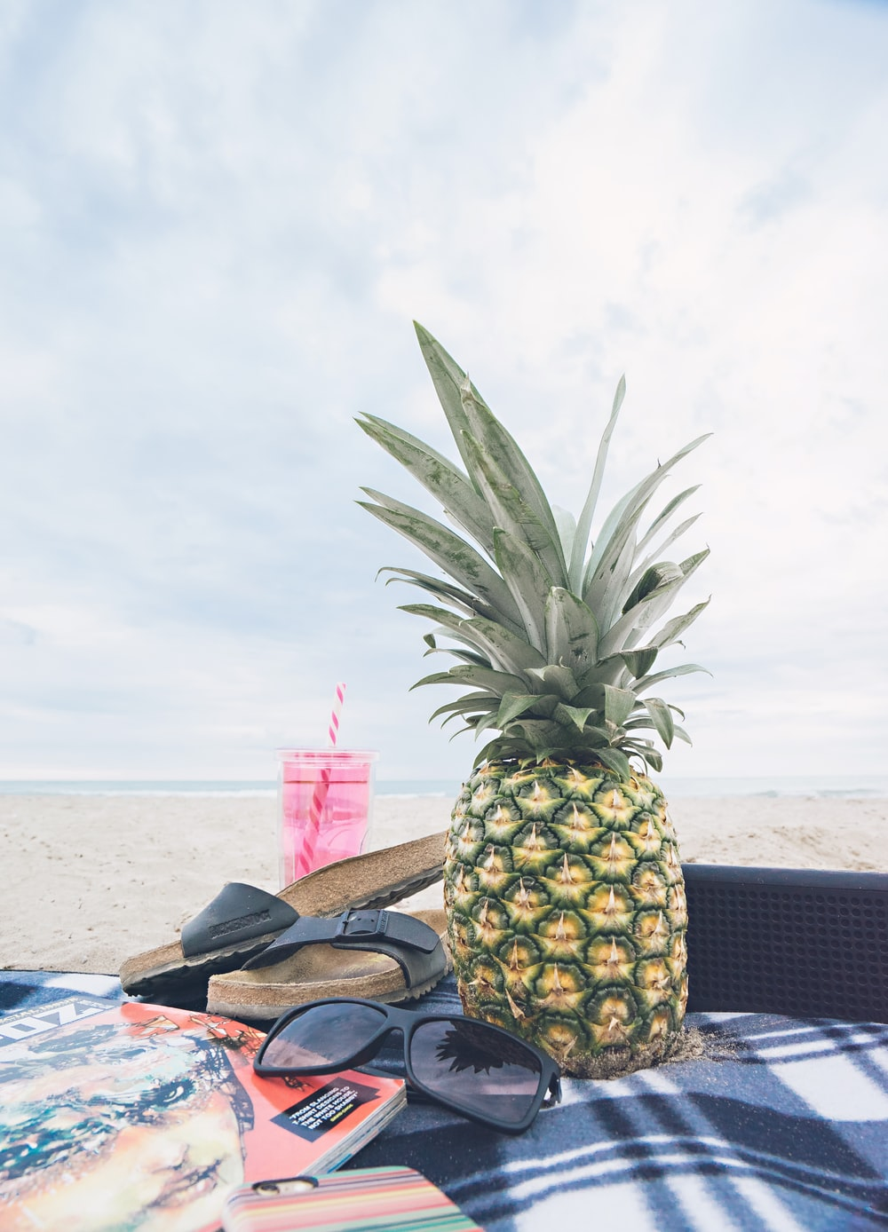 pineapple beside black sunglasses