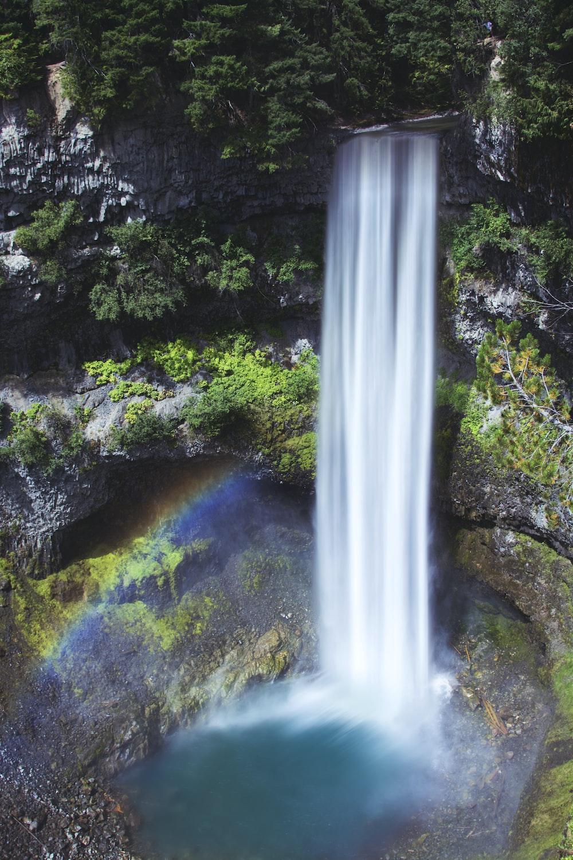 waterfalls at center of mountain