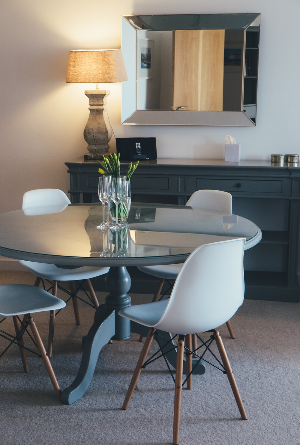 black-and-white 5-piece dining set