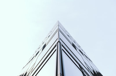 The corner of an all glass building in Berlin