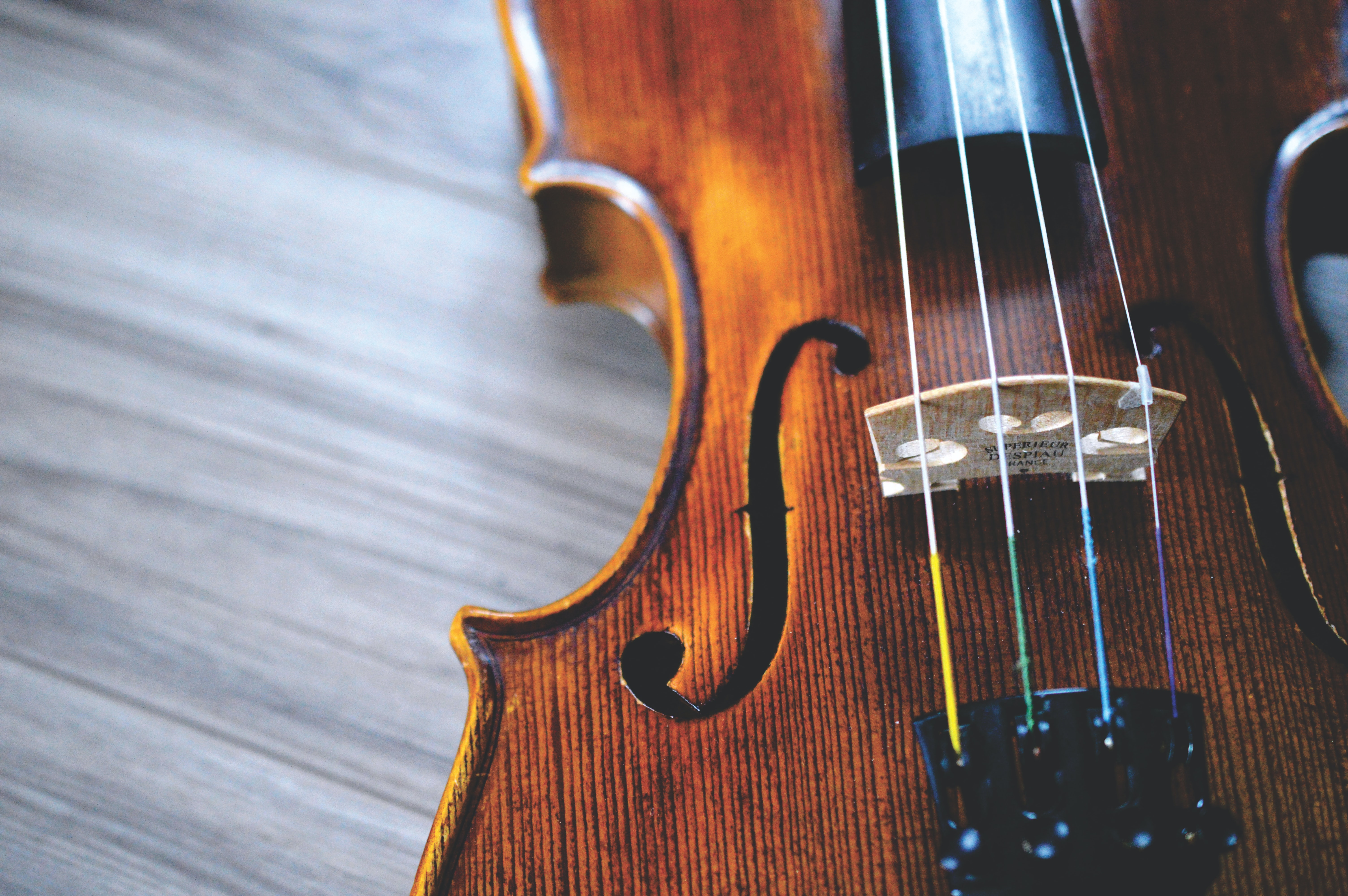 A close-up of a side of a violin