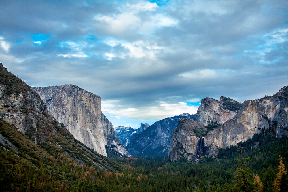 landscape photography of mountain valley