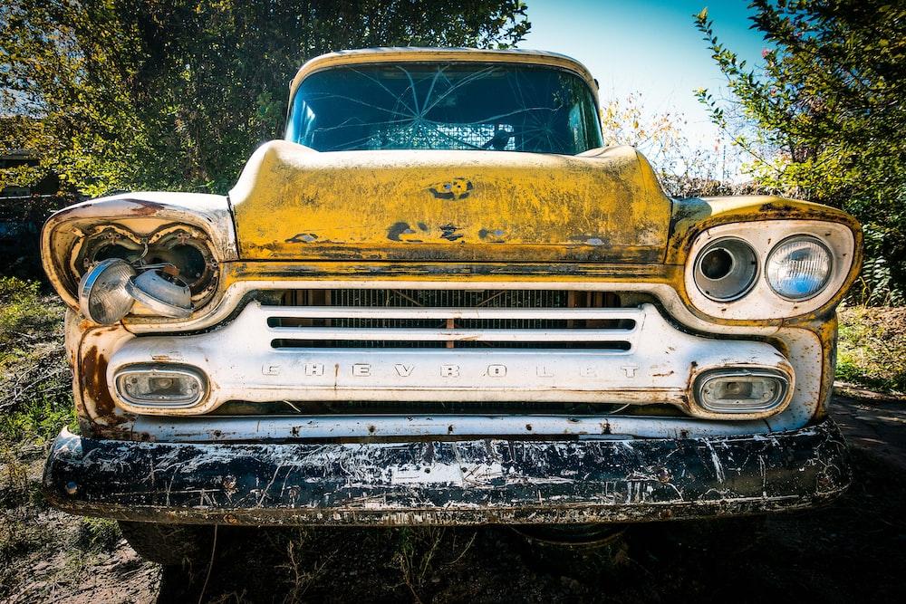 vintage Chevrolet car on forest