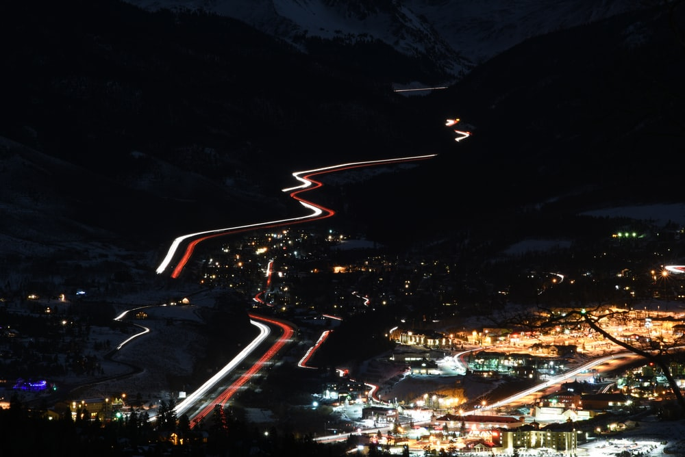 aerial photography of city lights during night