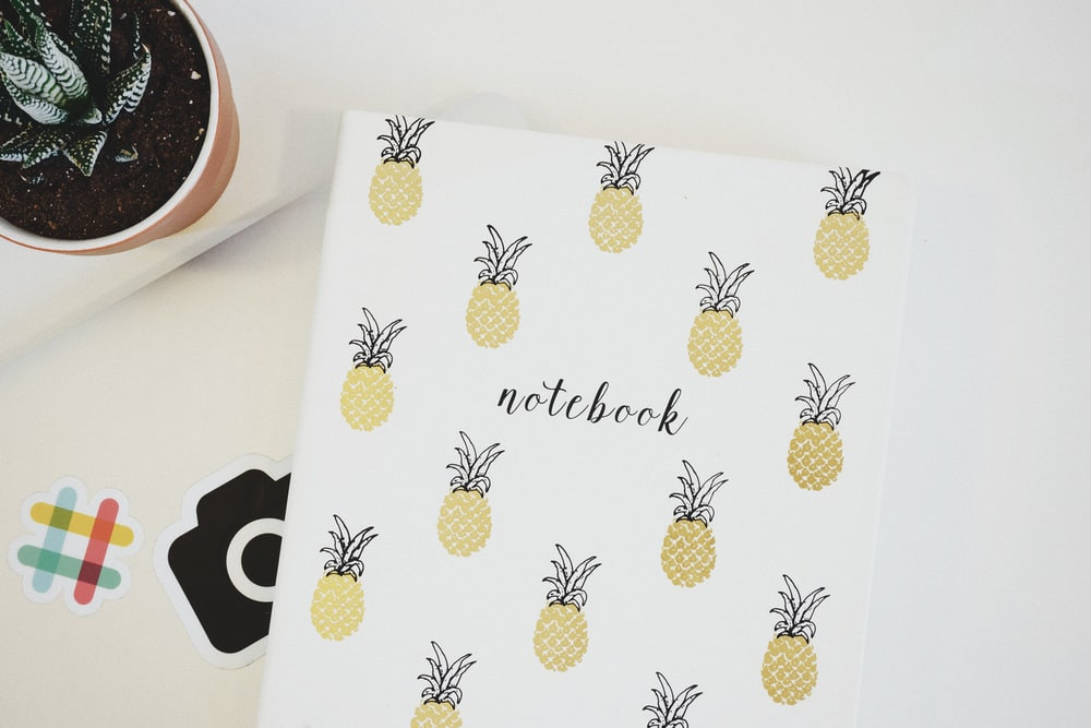 yellow pineapples covered notebook
