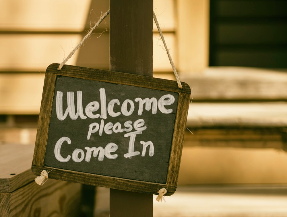 welcome signage on focus photography