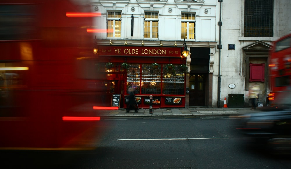 A motion blur in London street in front of a shop, London