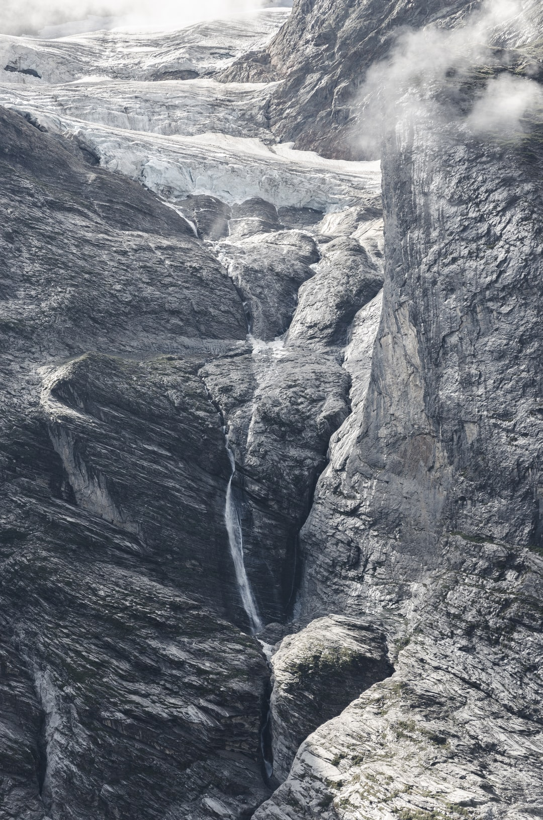 Cliff face waterfall