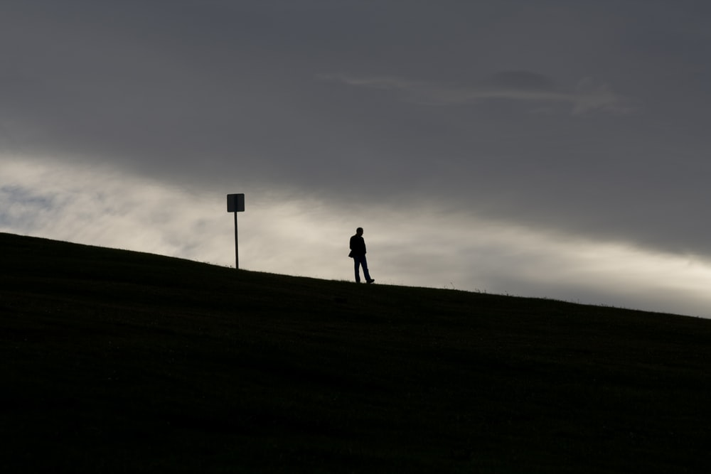 silhouette of 2 person walking on the field during sunset