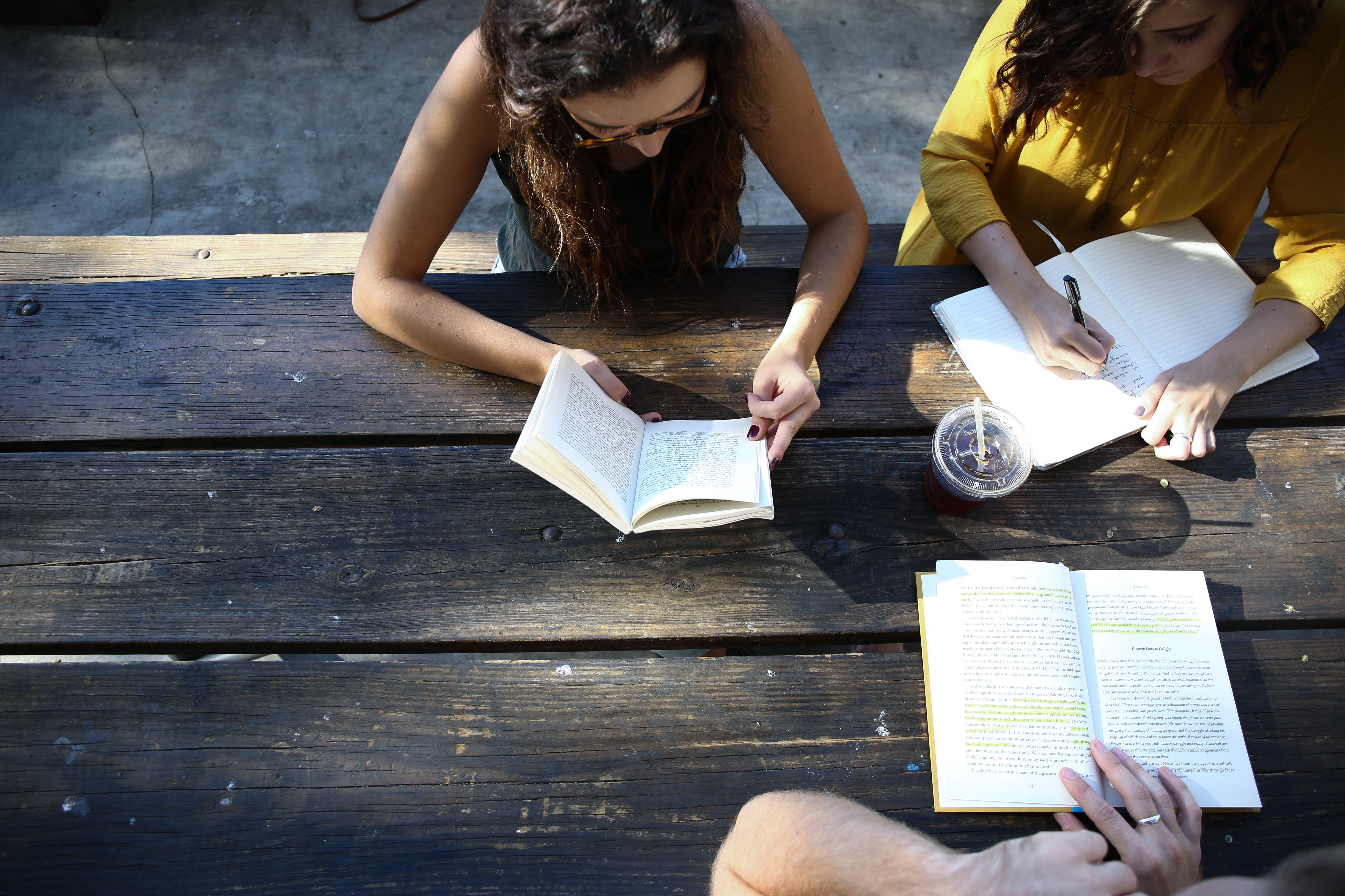 Photo of college students studying outside