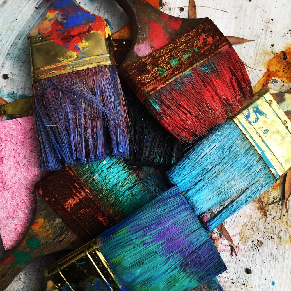 assorted-color paintbrushes