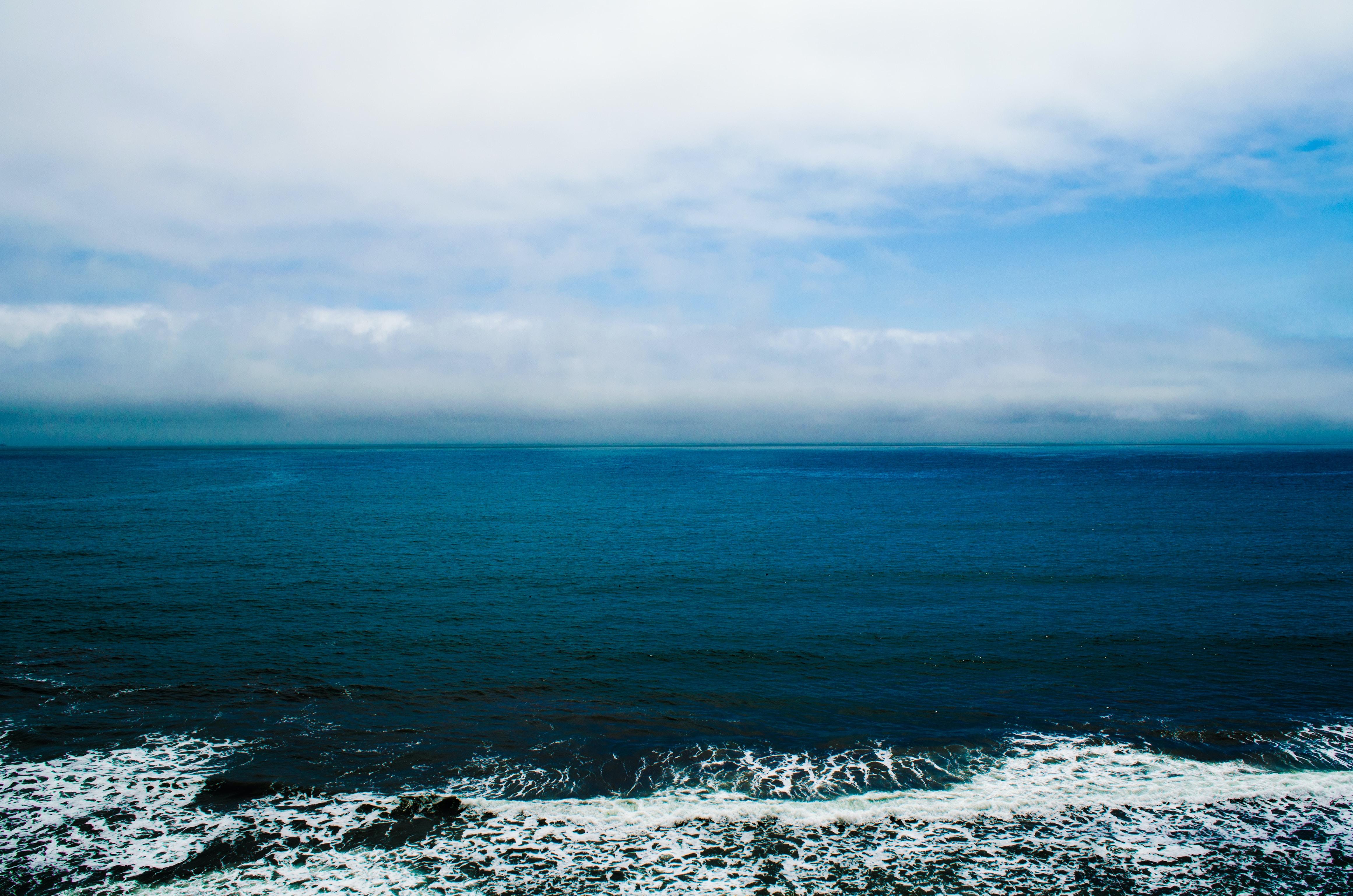 Drone view of the ocean horizon at Stinson Beach