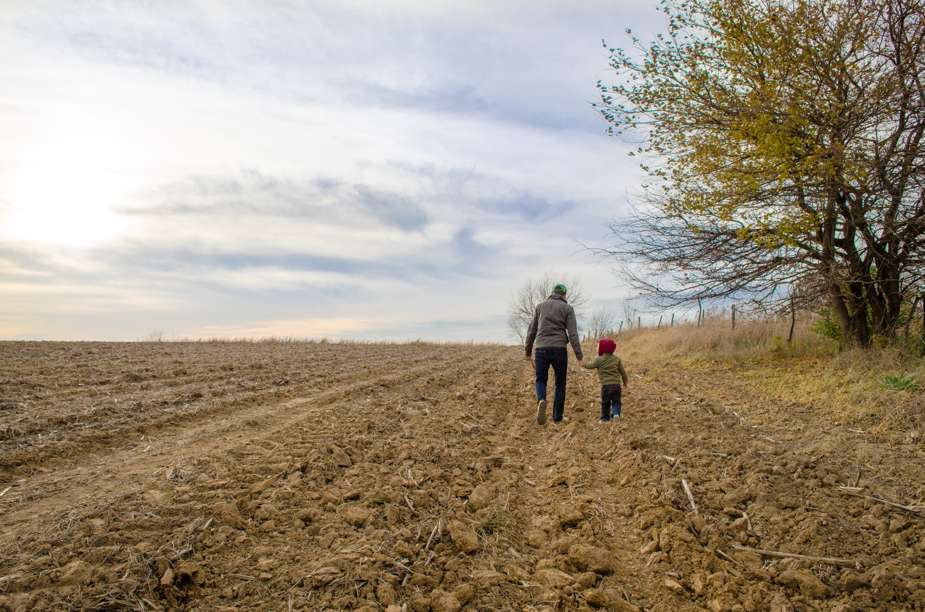 A dad walking with his kid in a field.