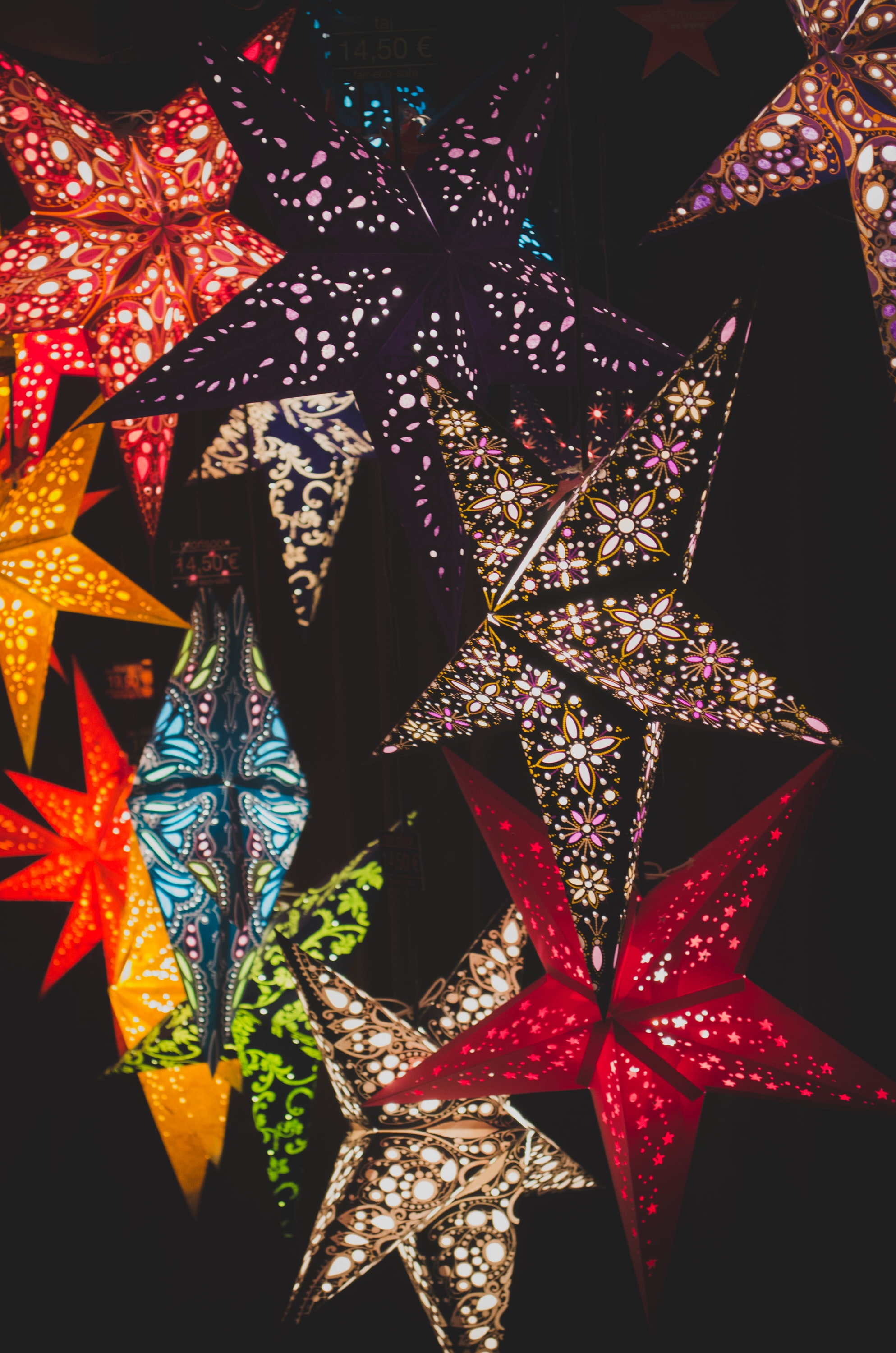Colorful star shaped lights.