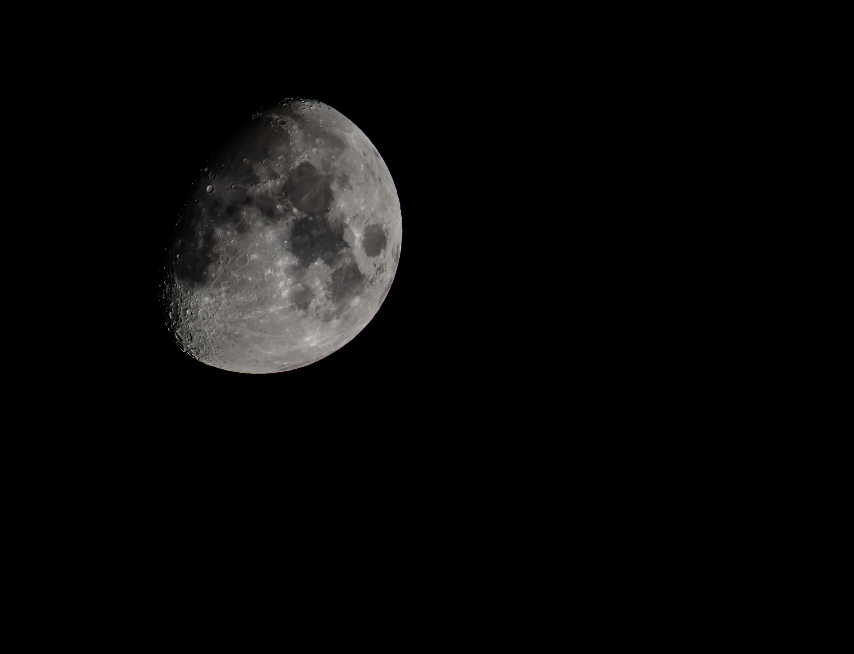 Close up of the moon and its dark spots shot from Knoxville