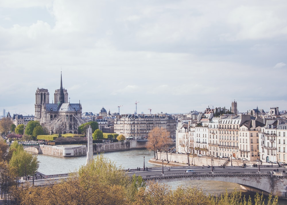 View of the back side of Notre Dame and the Seine River in Paris