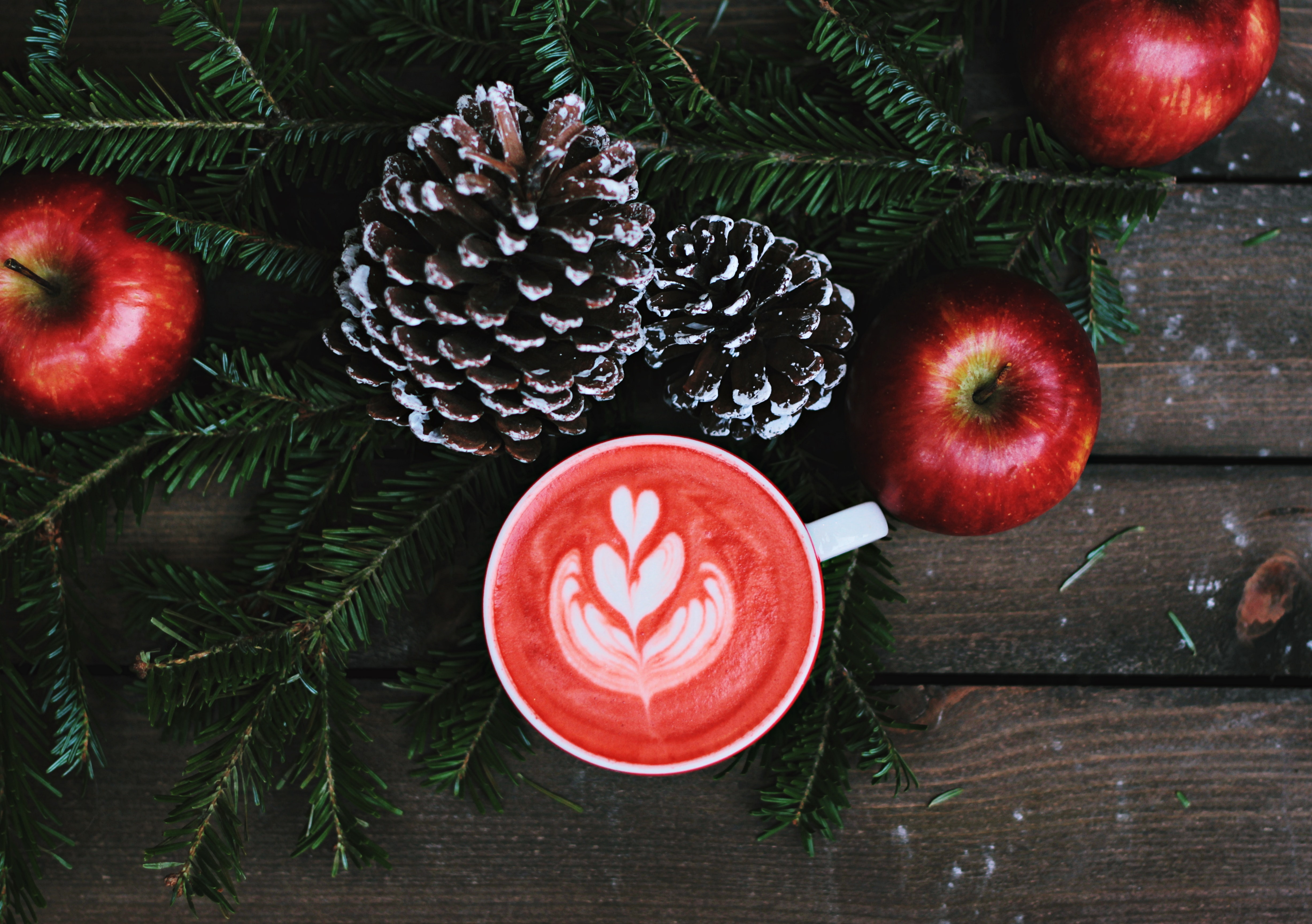 Overhead shot of apples, pinecones, fir and a red coffee