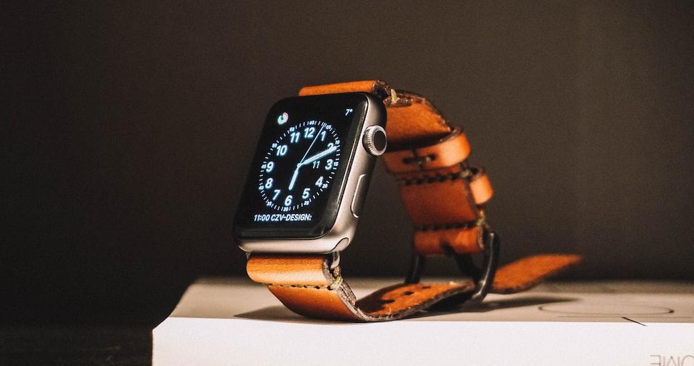 black smartwatch on box