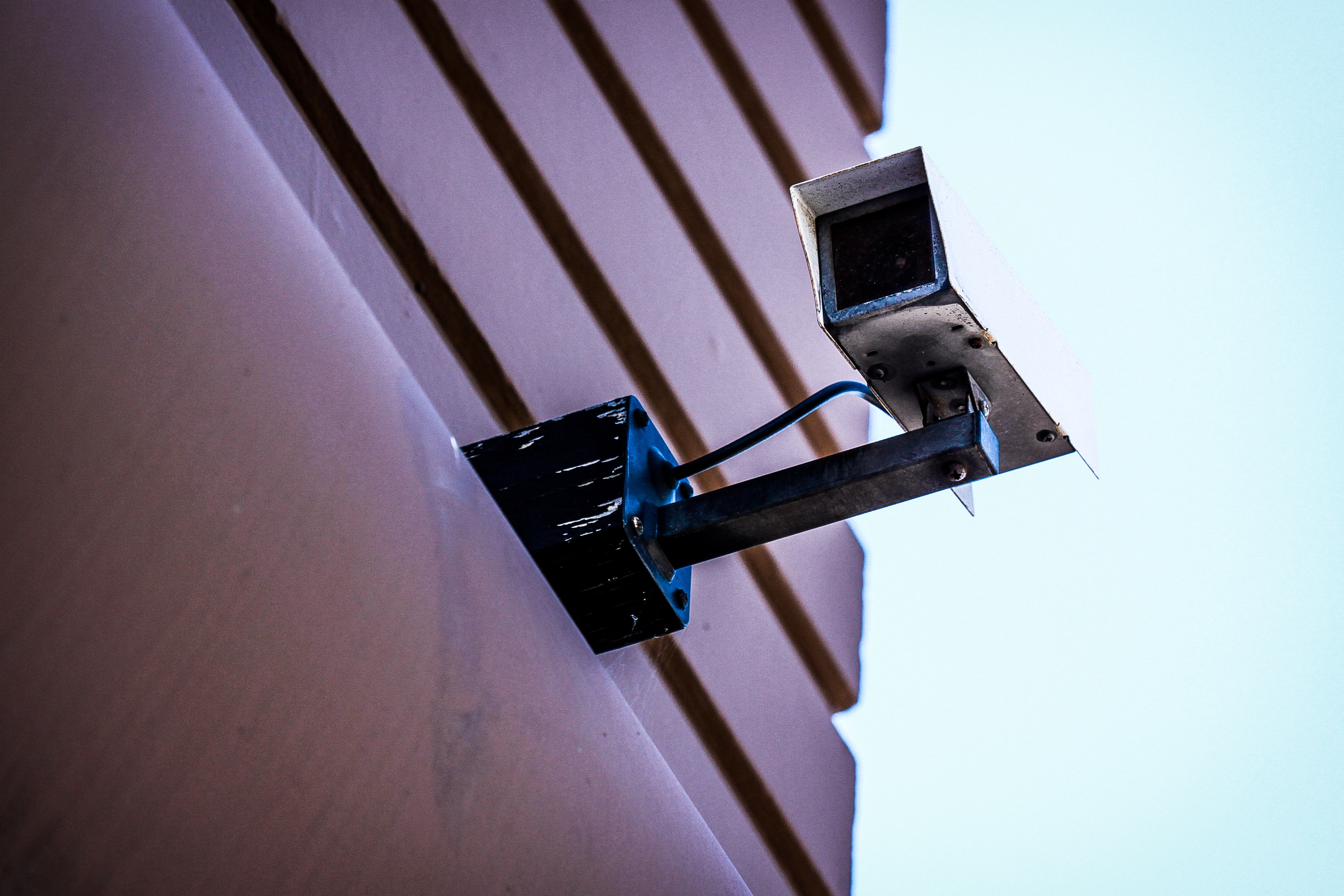 A security camera on a building facade